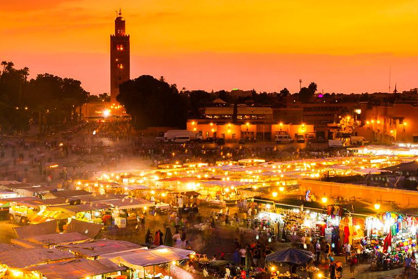 Jemaa El Fna square in marrakech medina morocco